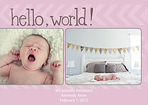 Hello World Arrows Pink Birth Announcements Flat Cards - Front