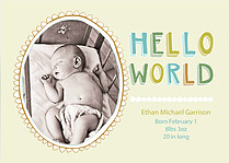 Hello World Horiz Birth Announcements Flat Cards - Front