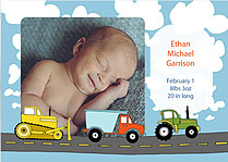 Trucks and Tractors Birth Announcements Flat Cards - Front