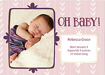 Wallpaper Pink Purple Birth Announcements Flat Cards - Front