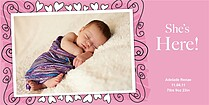 Pink Hearts & Swirls Birth Announcements Photo Cards - Horizontal