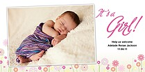 White & Pink Flowers Birth Announcements Photo Cards - Horizontal