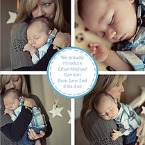 Dotted Circle Blues Square Birth Announcements Flat Cards - Front