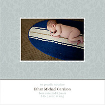 Damask Floral Boy Square Birth Announcements Flat Cards - Front