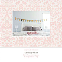 Damask Floral Girl Square Birth Announcements Flat Cards - Front