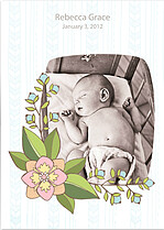 Corner Flower Birth Announcements Flat Cards - Front