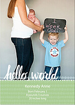 Dots Band Lime Birth Announcements Flat Cards - Front