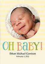 Oh Baby Yellow Birth Announcements Flat Cards - Front
