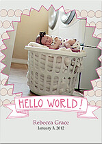 Pom Poms Gray Pink Birth Announcements Flat Cards - Front
