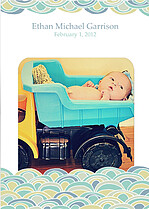 Scallops Aqua Birth Announcements Flat Cards - Front