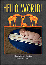 Hello World Yellow Birth Announcements Flat Cards - Front