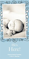 Blue Hearts & Swirls Birth Announcements Photo Cards - Vertical