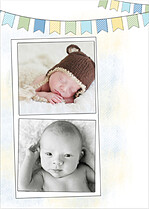 Lovely Welcome Blue Birth Announcements Flat Cards - Back