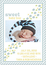 Bubbly Frame Blue Birth Announcements Flat Cards - Back