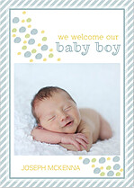 Bubbly Frame Blue Birth Announcements Flat Cards - Front