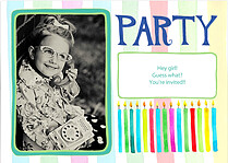Candles Blue Birthday Party Invitations Flat Cards - Front