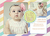 It's My Birthday Rainbow Birthday Party Invitations Flat Cards - Front
