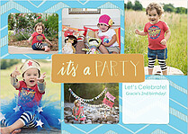 Mosaic Blue Orange Birthday Party Invitations Flat Cards - Front