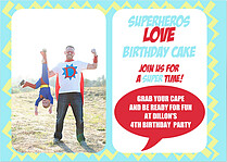 Superhero Birthday Birthday Party Invitations Flat Cards - Front