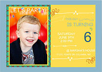 Birthday Boy Birthday Party Invitations Flat Cards - Front