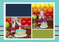 Preppy Party Turquoise Birthday Party Invitations Flat Cards - Back