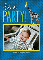 It's A Party Birthday Party Invitations Flat Cards - Front