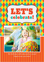 Celebrate Birthday Party Invitations Flat Cards - Front