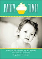 Party Time Birthday Party Invitations Flat Cards - Front