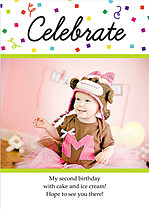 Celebrate Confetti Birthday Party Invitations Flat Cards - Front