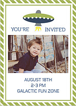 Rocketship Green Birthday Party Invitations Flat Cards - Back