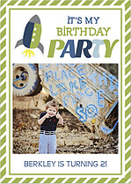 Rocketship Green Birthday Party Invitations Flat Cards - Front