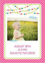 Polka Chic Pink Birthday Party Invitations Flat Cards - Back