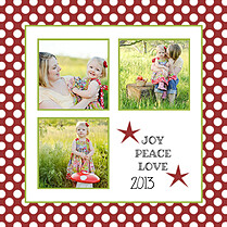 Polka Joy Crimson Square Christmas Flat Cards - Back