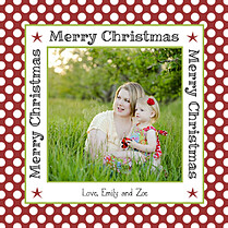 Polka Joy Crimson Square Christmas Flat Cards - Front