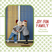 Polka Present Green Square Christmas Flat Cards - Back