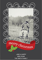 Gray Berry Scroll Christmas Cards - Front
