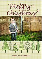 Natural Plaid Christmas Christmas Cards - Front