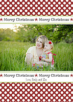 Polka Joy Crimson Christmas Cards - Front