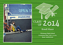 Stately Stripes Green Graduation Flat Cards - Front