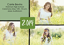 Triple Pane Green Graduation Flat Cards - Front