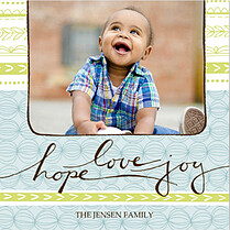 Hope Love Joy Blue Square Holiday Flat Cards - Front