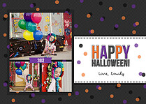 Confetti Trio Gray 1 Halloween Flat Cards - Front