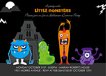 Little Monsters Halloween Flat Cards - Front