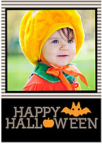 Batty Tricks Gray Halloween Flat Cards - Front