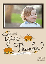 Give Thanks Beige Thanksgiving Flat Cards - Front