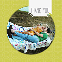 Lime Pattern Circle Square Thank You Flat Cards - Front