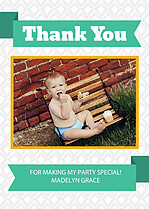 Teal Banner Thank You Cards - Front