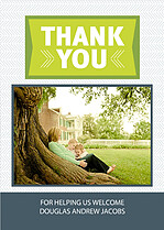Lime Gray Chevrons Thank You Cards - Front