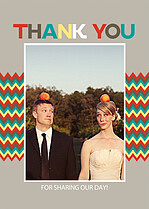 Bold Zig Zags Thank You Cards - Front
