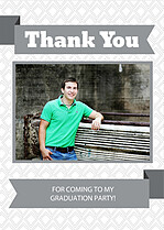 Gray Banner Thank You Cards - Front